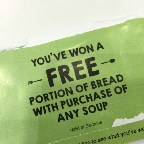 From now till Jan 2016, you get a scratchcard when you purchase any healthier choice soup!